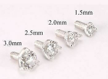 14g - 12g Internally Threaded Sterling Silver Prong-Set Jewel Top - Price Per 1