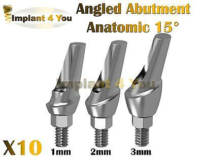 X10 Dental Angled 15 Degrees Abutments Anatomic for Implant Internal Hex Lab