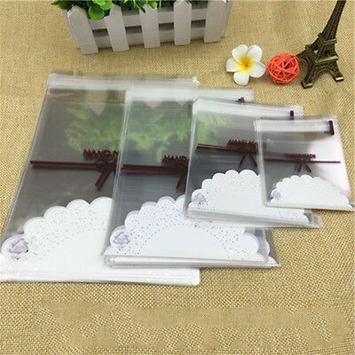 100Pcs Lace Bow Print Gift Cookie Packaging Self-Adhesive Plastic Bag