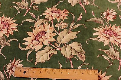 Stunning Antique French Floral Printed Silk Victorian Velvet Fabric c1870-1880