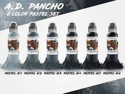 A.D. Pancho Pastel Grey 6 Bottle Set - World Famous Tattoo Ink - 1oz.