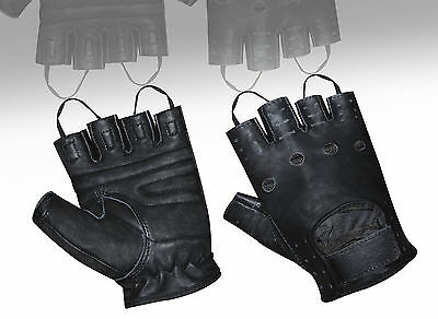 AK Top Quality Real Soft Leather Fingerless Driving Cycling Wheelchair Gloves