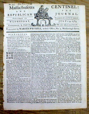 Orignal 1784 Boston MASSACHUSETTS CENTINEL newspaper with a decorative masthead