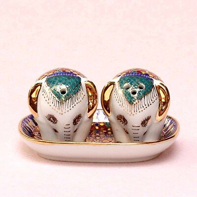 Thai Benjarong Porcelain Pottery Salt and Pepper Elephant Set Hand Painted SB-65