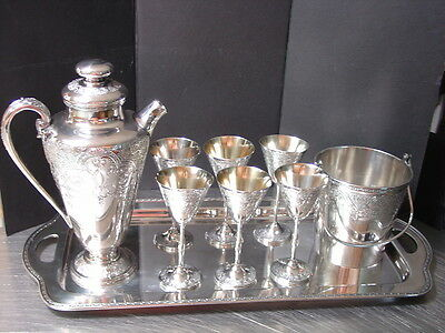 9 pc Silver Paisley Cocktail Shaker Glasses Ice Bucket Tray International EPNS