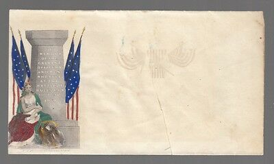 [60202] Civil War Postal Cover Woman Next To Battle Of Bulls Run Monument