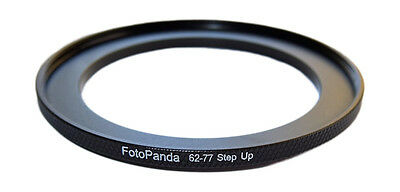 FotoPanda 62mm to 77mm 62 77 Knurled Metal Step Up Filter Ring Stepping Adapter