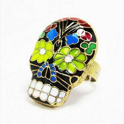 FD4408 Vintage Ring Punk Gothic Opera Flora Flower Skull Bronze Ring Jewelry♫
