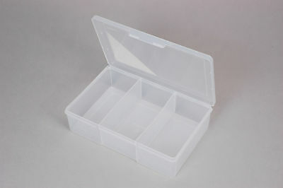 Fischer Plastic Products 3 Compartment Storage Box Large / Deep 1H-090 Clear