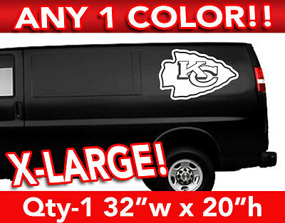"KANSAS CITY CHIEFS ARROW LOGO X-LARGE DECAL STICKER 32""w x 20""h ANY 1 COLOR"