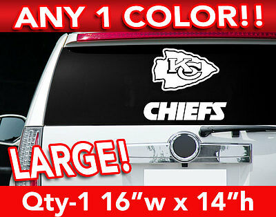 "KANSAS CITY CHIEFS WORD/ARROW LARGE LOGO DECAL STICKER 16""w x 14""h ANY 1 COLOR"
