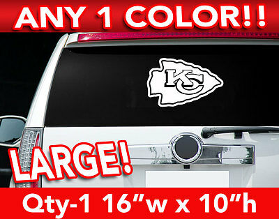 "KANSAS CITY CHIEFS ARROW LOGO LARGE DECAL STICKER 16""w x 10""h ANY 1 COLOR"