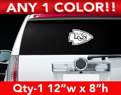 "KANSAS CITY CHIEFS ARROW LOGO LARGE DECAL STICKER 12""x 8"" ANY 1 COLOR"