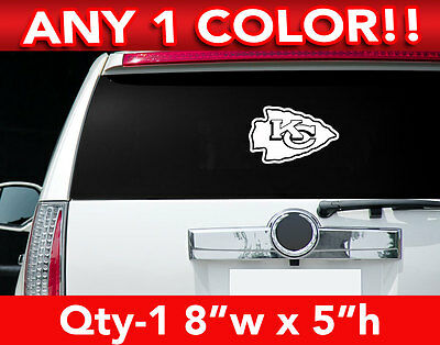 "KANSAS CITY CHIEFS ARROW LOGO DECAL STICKER 8""w x 5""h ANY 1 COLOR"