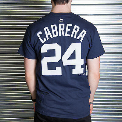 MLB Detroit Tigers Miguel Cabrera Navy Official Name and Number T-Shirt (Majesti