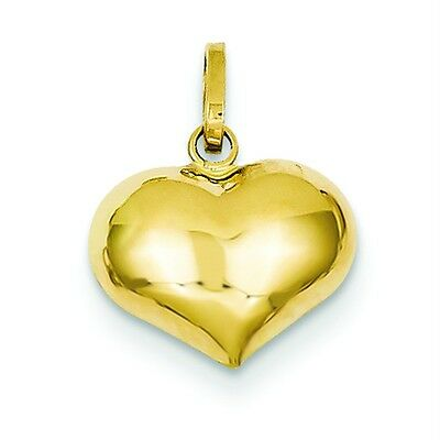 14K Rose Gold 3-D Solid Polished Puffed Love Heart Valentine Charm Pendant