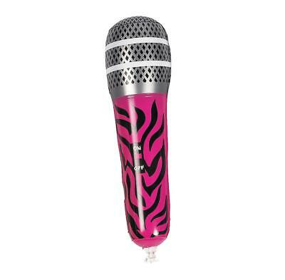 "12"" Inflatable Pink Zebra Microphone Mic Musical Instrument Fun Kids Toy Blow Up"
