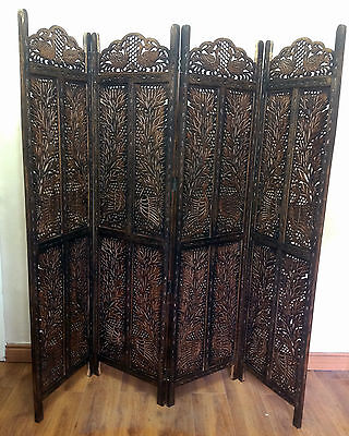Peacocks Design Hand Carved Indian 4 Panel Screen / Room Divider / Mango Wood P7