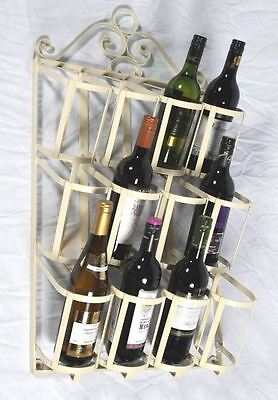 French Cream 12 Bottle Wall Mounted Ornate Wine Rack