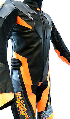 Baby Biker Speed Demon Kids Motorcycle Mini Moto Full Leather Race Suit Orange T