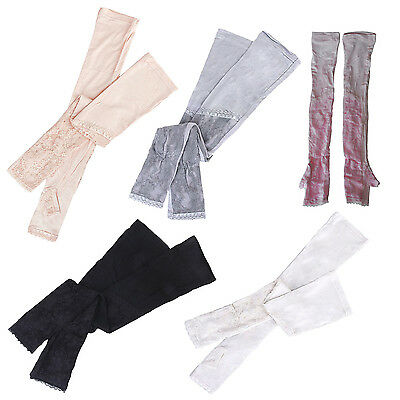 HE607 1 Pair Long lace UV Sun Protection Arm Sleeves Bridal Golf Driving Gloves