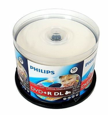 100 PHILIPS 8X Blank DVD+R DL Dual Double Layer 8.5GB White Inkjet Printable