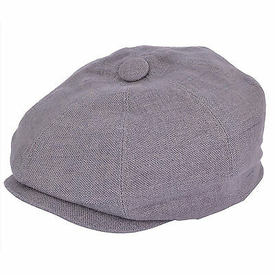 G & H Linen Grey Newsboy 8 Panel Peaky Blinders Style Summer Flat Cap Hat