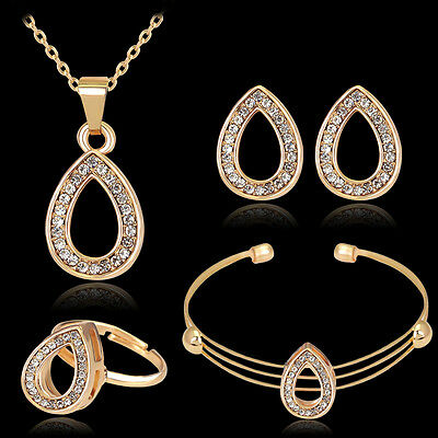 Simple Women 18K Gold Plated Crystal Necklace Earring Ring Bracelet Jewelry Set