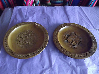 Vintage Pair Of 8.5 In Chip Carved Wooden Plate Middle East North African