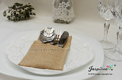 Burlap Cutlery Holder Hessian Silverware Pouch Rustic Wedding Party Decor Bag 12