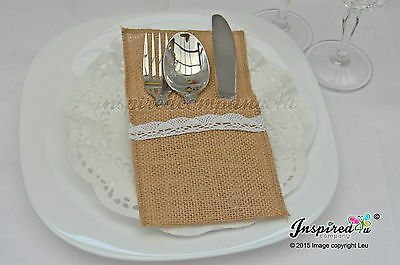 25 x Wedding Cutlery Holders Burlap / Hessian Table Decor Centerpieces Party #1