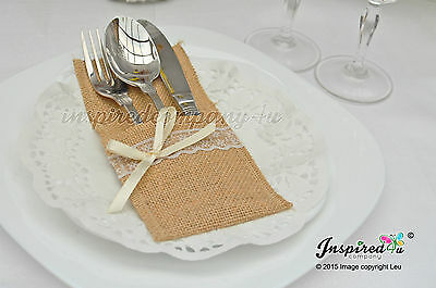 25 x Wedding Cutlery Holders Burlap / Hessian Table Decor Centerpieces Party #2