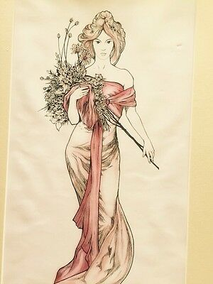 Mounted Print from Original Pen and Ink Pre-Raphaelite drawing