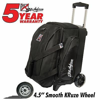 KR Strikeforce Cruiser Smooth Double Roller 2 Ball Bowling Bag Black