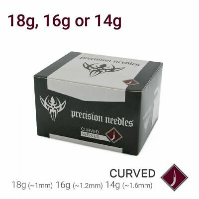 18g, 16g, or 14g Precision Sterilized Curved Piercing Needles — Box of 50