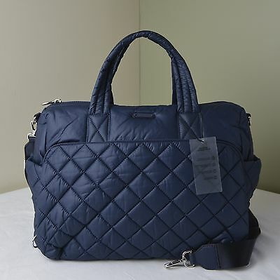 Michael Kors Navy Quilted Nylon Roberts Medium Gym Duffle Travel Bag
