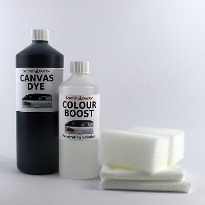 BLACK Convertible Roof CANVAS DYE Kit with Colour Boost. Soft Top Restorer