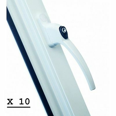 10 x UPVC LOCKING WINDOW HANDLES WITH TEN 10 KEYS- WHITE FINISH - NEW