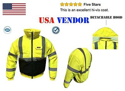 Ansi High Vis Reflective Safety Jacket Hoodie Bomber Long Sleeve C3 - All Sizes