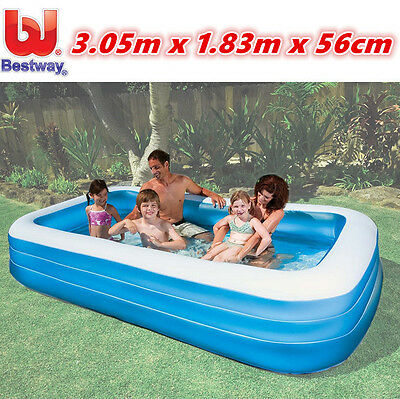 3m Bestway Deluxe Blue Inflatable Family Swimming Pool Wading Above Ground Kids