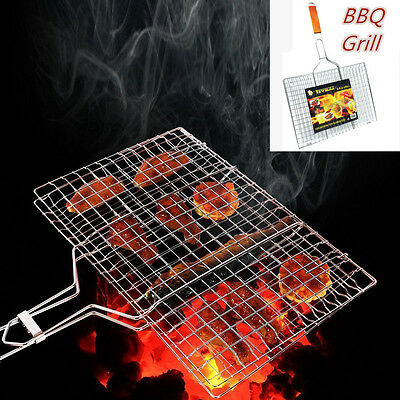 New Barbecue BBQ Grill Plate Mesh Net Mesh Wire Handle Chrome Camping charcoal