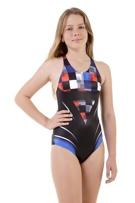 Girls Sport Back Cube One Piece Chlorine Resistant Swimsuit