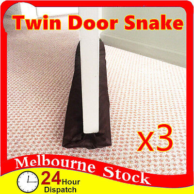 3x Twin Door Snake Draft Stopper Sausage Draught Excluder Cold Weather Homeware