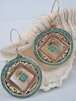 Tibetan handmade brass earrings Unique Hippy jewelry Coral Turquoise Stone inlay