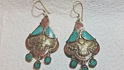 Nepal Tibetan Mexican earrings Unique Hippy jewelry Coral Turquoise Stone inlay