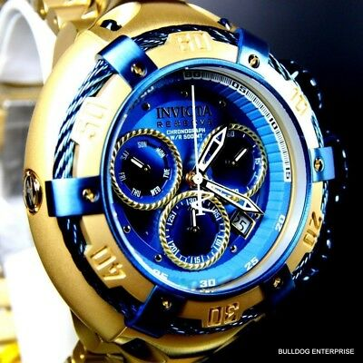 Invicta Reserve Thunderbolt 52mm Gold Plated Swiss Blue Chronograph Watch New