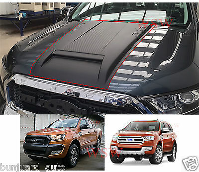 Front Black Bonnet Scoop Vent Cover Ford Ranger T6 Mk2 Minor Change Mc 2015 2016