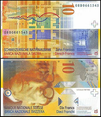 Switzerland 10 Franken (Francs), 2008, P-67c, UNC