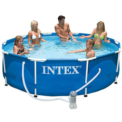 INTEX Frame Pool Swimming Pool + Pumpe 366x76cm Schwimmbecken Stahlrohrbecken