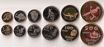 Elobey - Equatorial Guinea 6 Coins Set 1-500 Ekuele Animals Lion Elephant Unc